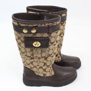 Coach Kayla signature tan brown winter boots